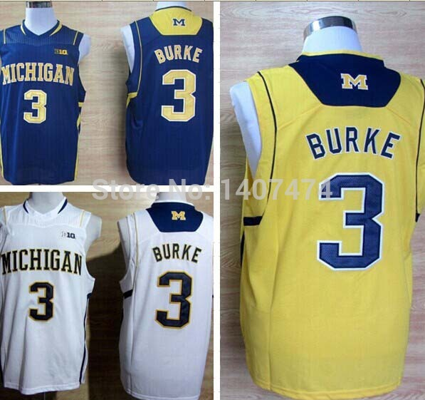 Exclusive High Discount Sales/2014 New Style NCAA Men's College Basketball Jersey Michigan Wolverines Trey Burke 3 Big 10 Patch
