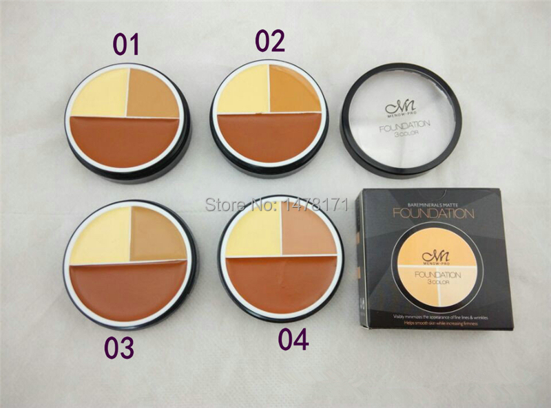 Free DHL Shipping 2015 New Professional Brand Makeup Menow 3 colors flawless concealer cream foundation palette for face 4 types(China (Mainland))