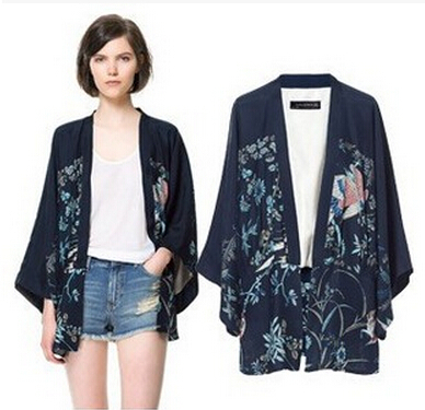 2015 autumn Europe United States women's clothing wholesale Crane printing irregular bat sleeve kimono coat free delivery(China (Mainland))