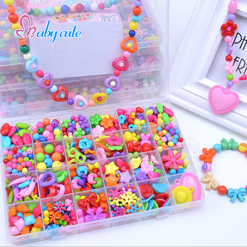 Girl Beads DIY Toys For Children String Beads Make Up Puzzle Toys Jewelry Necklace Bracelet Building Kit Educational Block Toy(China (Mainland))