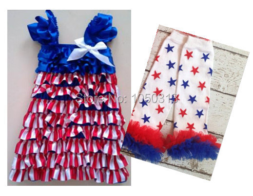 American national flag Cap sleeves red white stripe blue patriotic girl's dress,4th of July,Independence day,red blue white(China (Mainland))