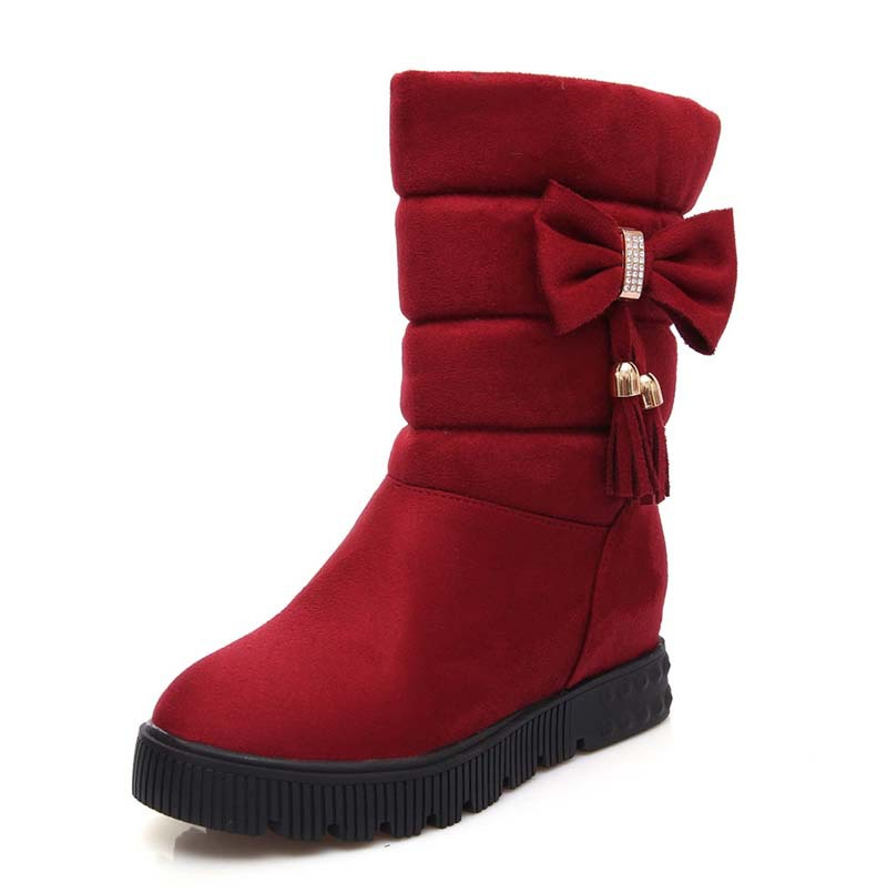 Bow Women Snow Boots Shoes New warm Round Toe Flock Ankle Boots For Women Low Winter motorcycle boots platform <br><br>Aliexpress