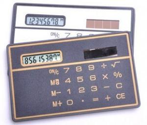 Free Shipping Mini Slim Credit Card Solar Power Pocket Calculator For a Gift(China (Mainland))