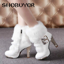 2016 Winter Fur Boots Women's Plush Warm Platform Ankle Boots Shoe side zipper buckle Woman High Heels fashion Shoes Black White(China (Mainland))