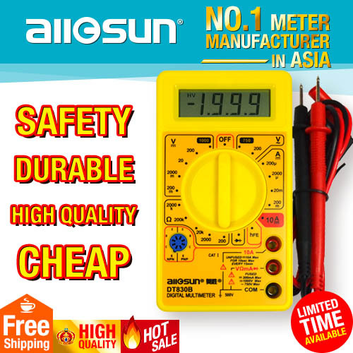 all-sun DT830B AC/DC Ammeter Voltmeter Ohm Electrical Tester Portable Professional Digital Multimeter not included 9V battery(China (Mainland))