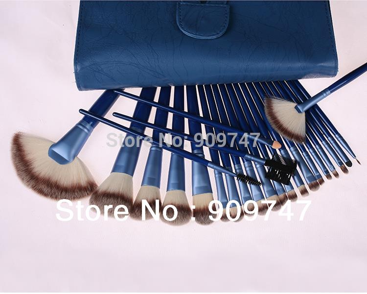 2014 new,24 pcs BLUE Makeup Brush Set Makeup Toiletry Kit Make Up Brush Set Cosmetic brush with BLUE case free shipping<br><br>Aliexpress