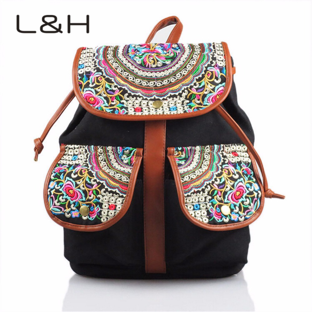 2016 LH Fashion Canvas Women Handmade Ethnic Floral Embroidery Backpack Rucksack School Bag Travel Bags Good Quality 2 Colors<br><br>Aliexpress