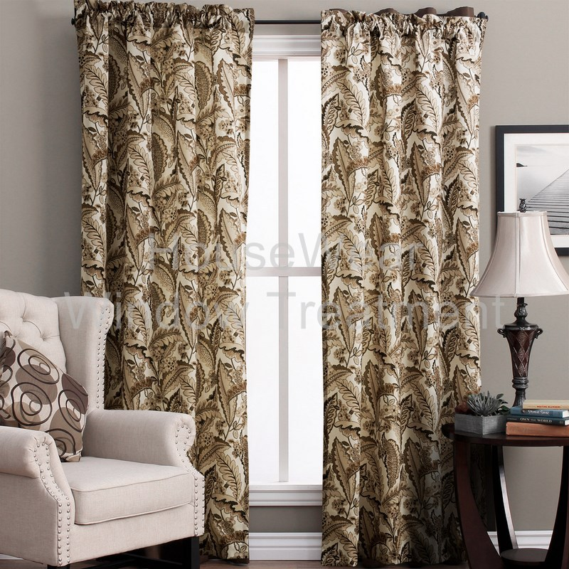 Contemporary Country Fresh Style Brown Leaves Pattern Rod Pocket Top Lined Blackout Curtain With Multi Size Custom(China (Mainland))