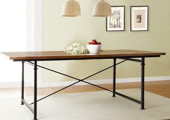 Mobili country americano solido tavolo da pranzo in legno fatta di vecchio ferro arrugginito - Tavoli in legno vecchio ...