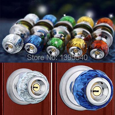 70mm Crystal Wooden Indoor Door Lock Cylindrical Ball With Key Lock Core Bedroom Porter Lock Bursh Round Washroom Door Lock(China (Mainland))