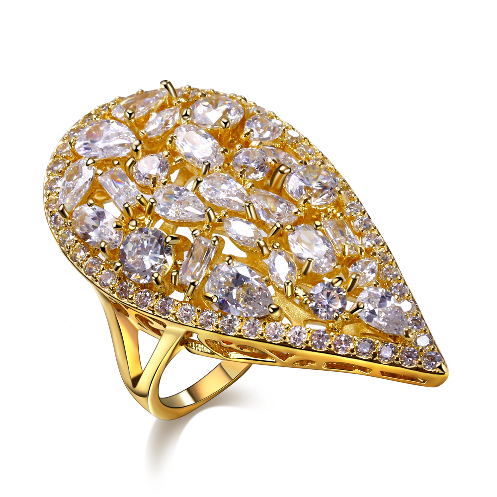 Heart Shape Ring for Women Gold Plated Lead Free Color Stone ring Free Allergy Free Shipping(China (Mainland))