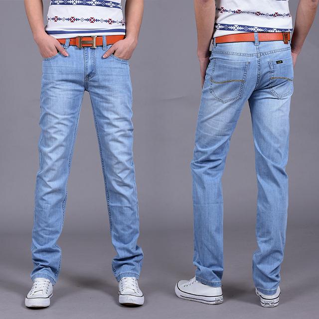 2016 Новая мода Утр Тонкий Розничных мужская весной и летом джинсы стиль бренда джинсы ...