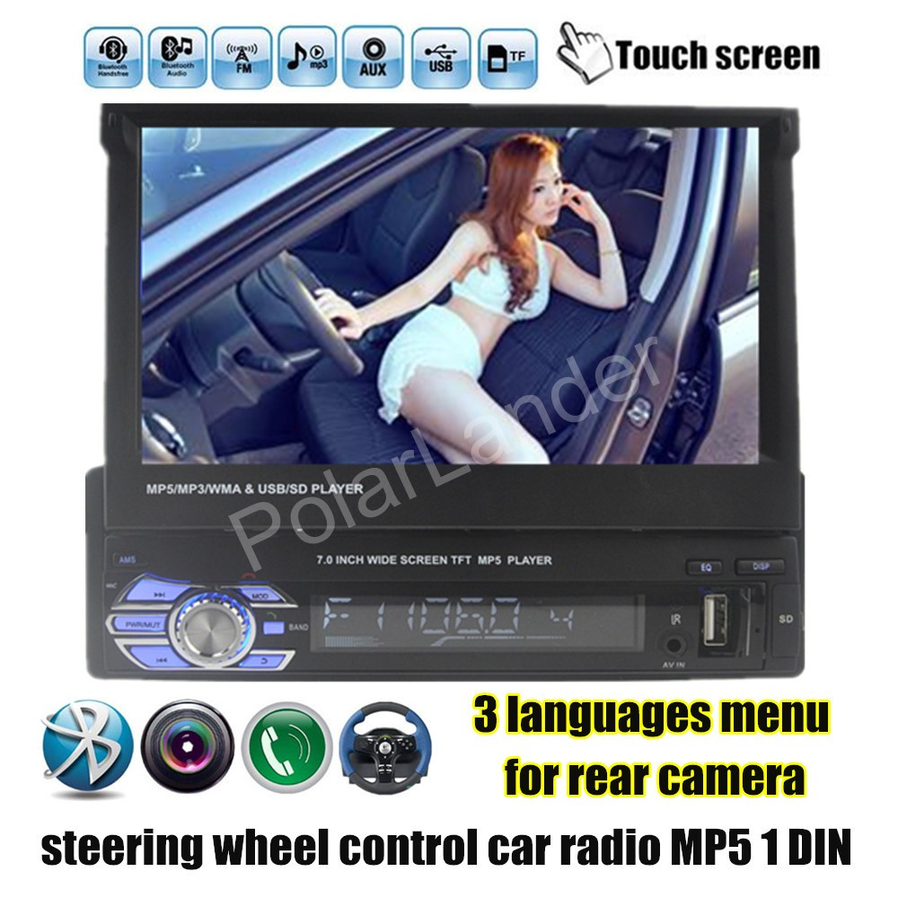 3 languages menu touch screen 1 Din 7 inch 12V Car Stereo Radio Audio MP5 Player Support USB/TF/FM steering wheel control(China (Mainland))