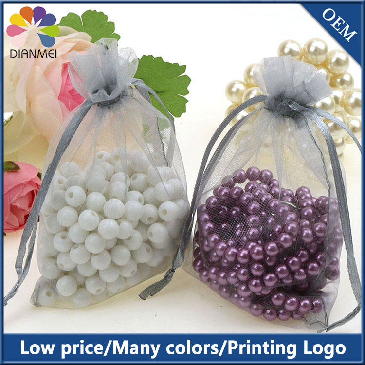 9x12cm Grey Wedding Drawable Organza Voile Gift Packaging Bags Cheap Pouches Sack Printing Logo Customed With Bags100pcs/lot(China (Mainland))