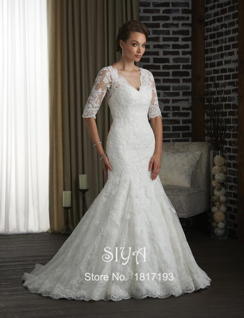 2015 русалка свадебное платье Vestido де Noiva аппликации V шеи долго назад видеть через половину рукавом фиштейл свадебные платья сексуальная поезд