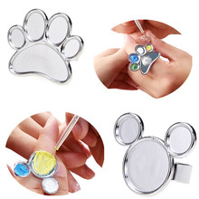 1pc Mini Nail Art Metal Finger Ring Palette Mixing Acrylic gel polish Painting Drawing color paint dish glue Palettes tools
