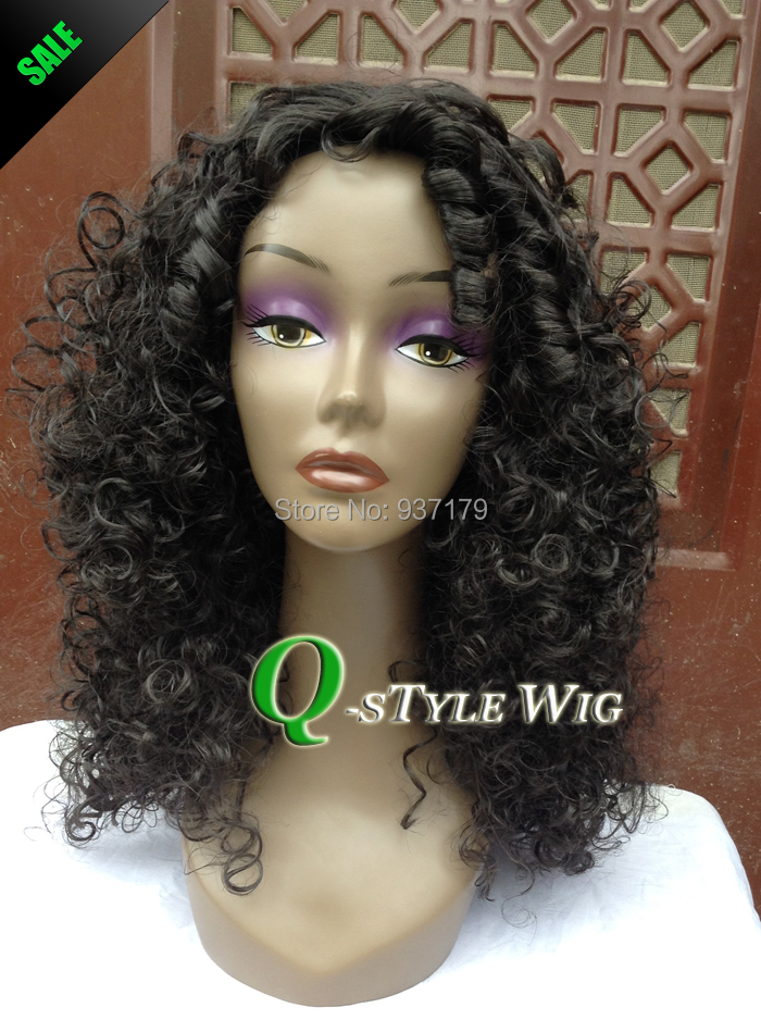 kinky curly wig Jet black afro fluffy deep volume noodle coarse synthetic hair wigs women - Queen Style trade Co.,Ltd store
