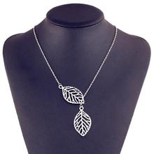x348 New fashion golden hollow leaves leaves female charm jewelry gold necklace pendant necklace clavicle chain