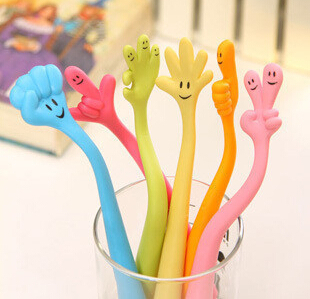 2014 new/ 1 lot=10pcs/Creative expression finger pen / bendable ballpoint / gesture pen / can be printed LOGO(China (Mainland))