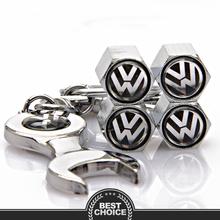 VW Keychain and Valve Caps Set for Volkswagen VW Polo Sedan Golf Touran Passat  B5 B6: VW Emblem Key Logo Wheel Cap Accessories(China (Mainland))