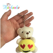 2016 New Arrival 8cm Plush Teddy Bear Hug Emoji Key Chain Small Stuffed Animal Pendant Wedding Gift Metal Key Ring(China (Mainland))