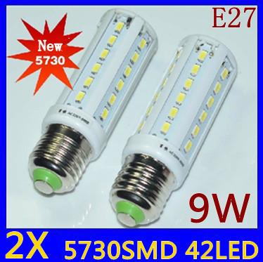 2pcs/lot High Power 9W 42*5730 SMD E27 E14 B22 Corn Bulb 360 degrees LED Lighting Warm/Cool White
