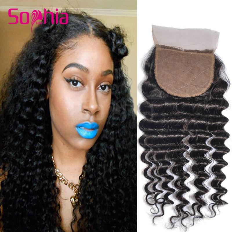 Фотография 6A Brazilian Deep Wave Silk Base Closure Bleached Knots 100% Unprocessed Brazilian Virgin Hair Deep Wave Silk Base Lace Closures