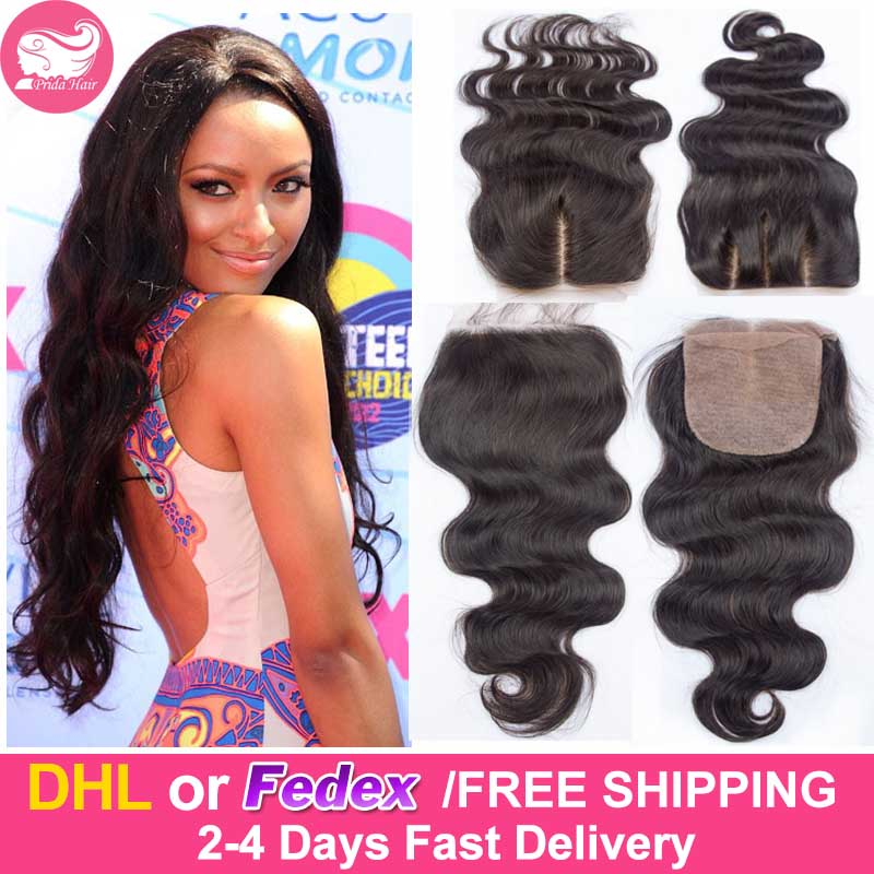 7A Human Brazilian Virgin Hair Silk Base Closure Middle Part 4x4 Bleached Knot Body Wave Brazilian Silk Base Lace Closure 3 Part(China (Mainland))