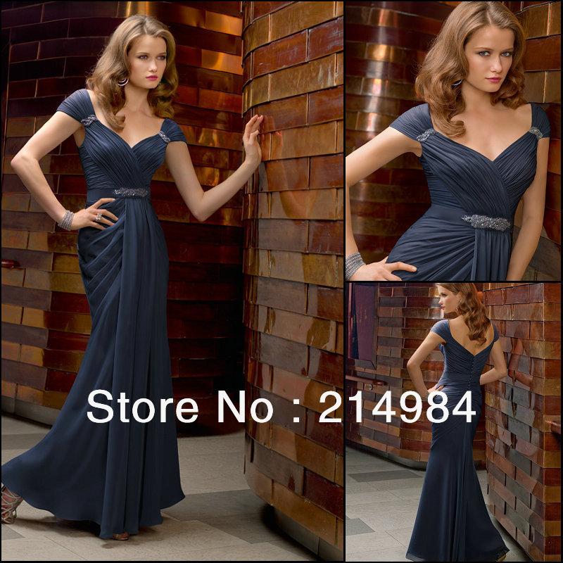 Elegant Dark Blue Chiffon Long Cap-Sleeve Sheath Evening Dress Formal Party Prom Gown Mother Bride Dresses 2014 New - Only Love Wedding Co.,Ltd store