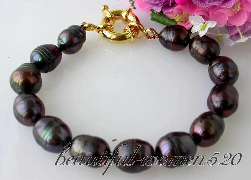 "hot sale FREE SHIPPING z2536 8"" 14mm rice black freshwater pearl bracelet bangle (A0426)(China (Mainland))"