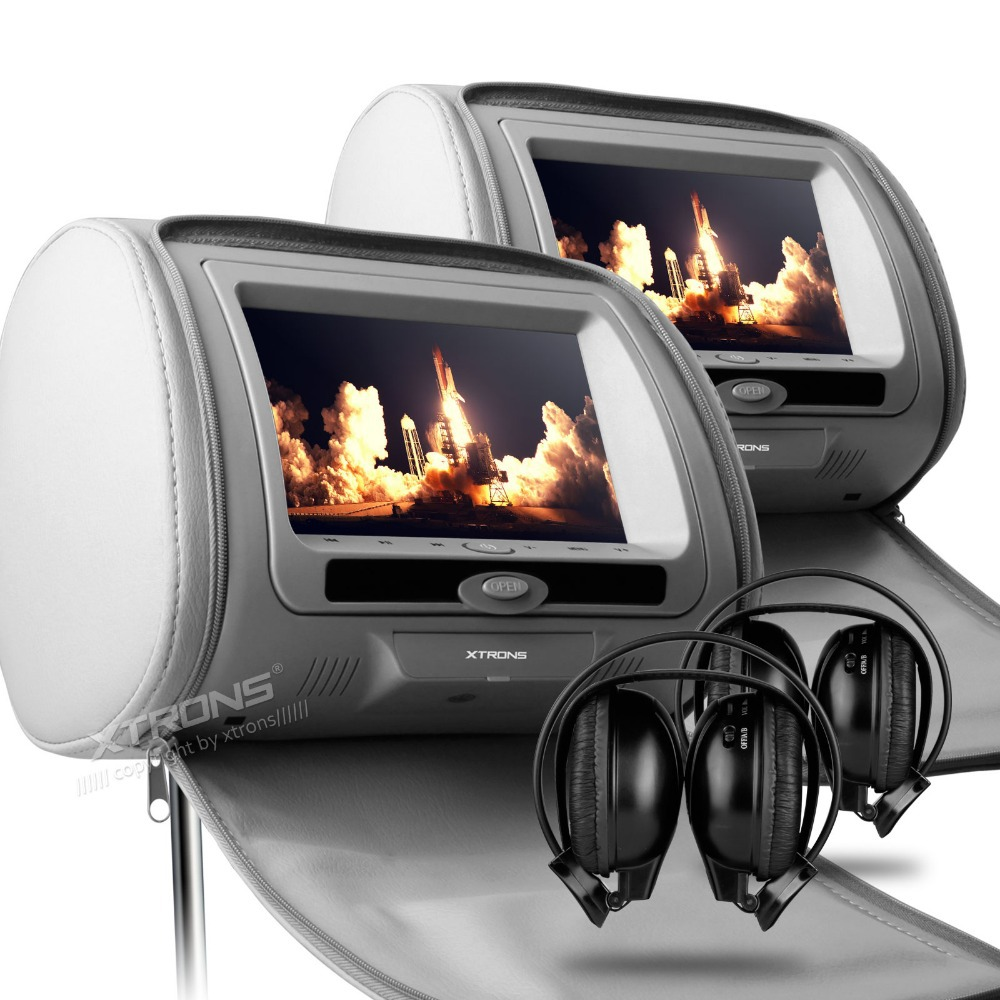 "XTRONS Grey 2x7"" Digital Screen zipper Car Headrest DVD Player USB FM Game Disc Remote Control with IR Wireless Headsets(China (Mainland))"