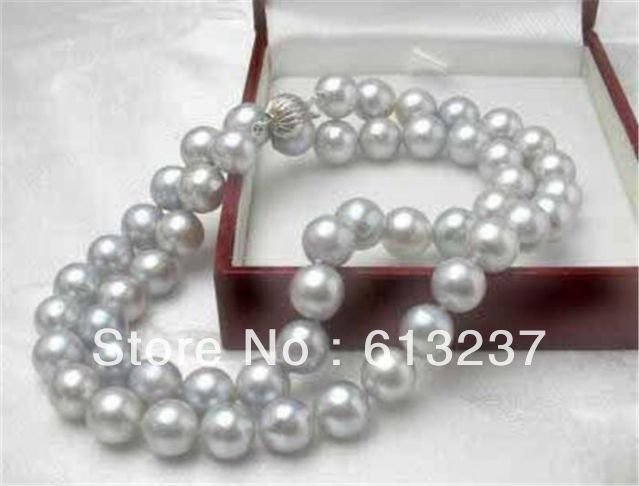 """hot Free postage Fashion diy 10mm Silver South Sea Pearl Necklace AAA Pearl jewelry making 18"""" YE0042(China (Mainland))"""