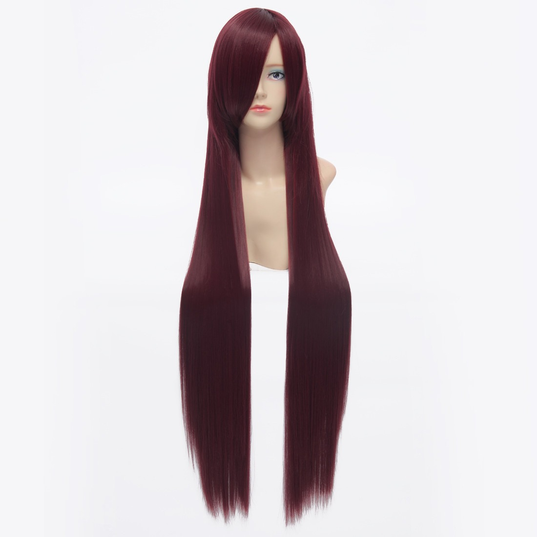 100cm Dark Red Straight Long Synthetic Full Cosplay Costume Anime Fancy Wig<br><br>Aliexpress
