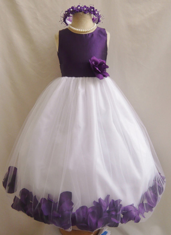 Flower Girl Dresses PURPLE Top Rose Petal Dress Wedding Easter For
