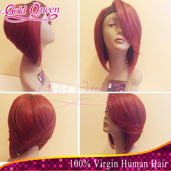 Hot sale u part brazilian straight wig hair cut short bob wigs for black women red side fringe human hair bob wig glueless(China (Mainland))