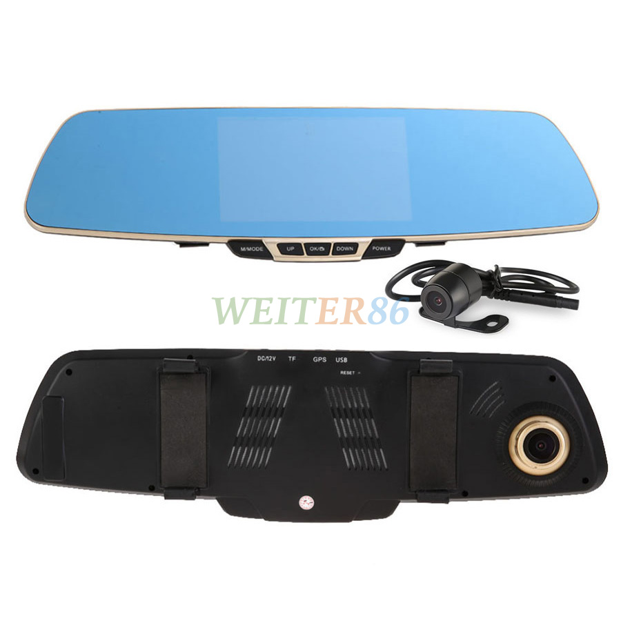 5.0 Inch Dual Camera Car Dvr Camera Rearview Mirror Dash Cam Dual Lens G-Sensor 1080P 140 Degree 2 Camera Video Recorder