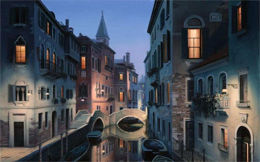 Building Eugene lushpin painting lushpin city Venice Italy canal gondola 4 Sizes Home Decor Canvas Poster Print(China (Mainland))