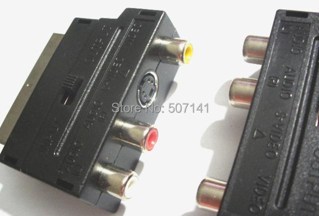 30PCS Scart Adaptor 3 x RCA S-Video svideo CCTV TV phono Adaptor(China (Mainland))