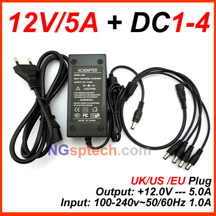 Best price 12V AC/DC 5A CCTV POWER ADAPTER +free gift DC 1-4 SPLITTER for CAMERAS<br><br>Aliexpress