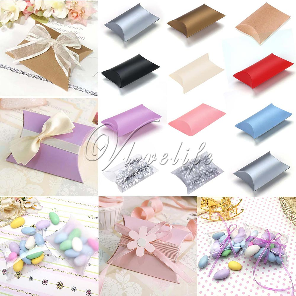 50pcs Paper Pillow Favor Gift Box Kraft Paper Candy Boxes PVC Paper Gift Box Bag Wedding Party Supply Accessories Favor(China (Mainland))