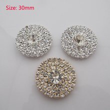 Free Shipping Wholesale 60pcs/lot 30mm Rhinestone Flatback Button For Hair Flower Wedding Invitation YMBT02023(China (Mainland))