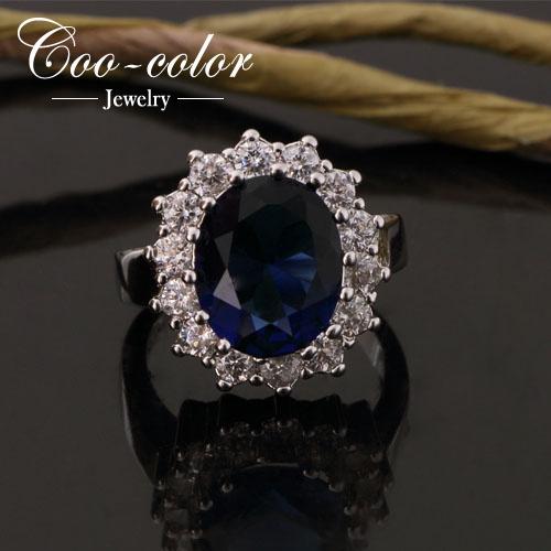 Luxury British Kate Princess Diana William Engagement ring 18K Platinum Plating Blue Sapphire Rings for women Wedding jewelry(China (Mainland))