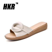 HKR 2016 summer slippers women flat sandals shoes Leisure slippers slip-on round toe genuine leather sandals flip flops 6539(China (Mainland))