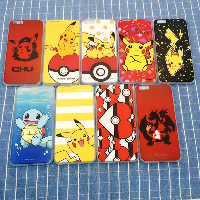 Case for iPhone 6 6S plus Brand fashion Anime Game Pokemones Go Pokeball silk Grain hard cover carcasa capa coque fundas(China (Mainland))