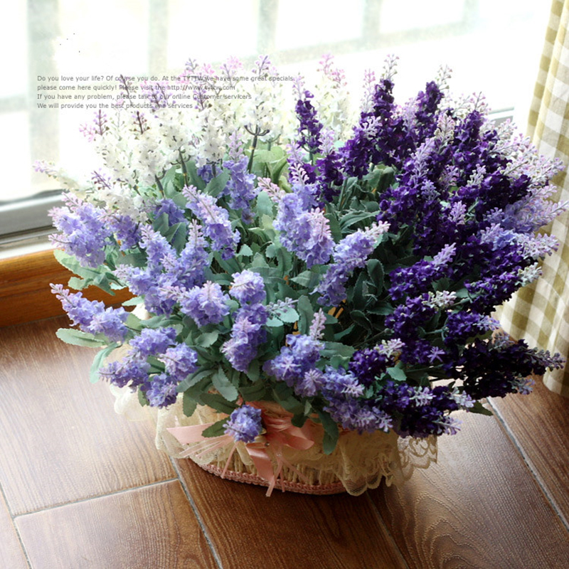 3 Color 10 heads Provence Lavender Artificial Silk Flowers Home Decorations For Wedding Party Gift Dried Flowers(China (Mainland))