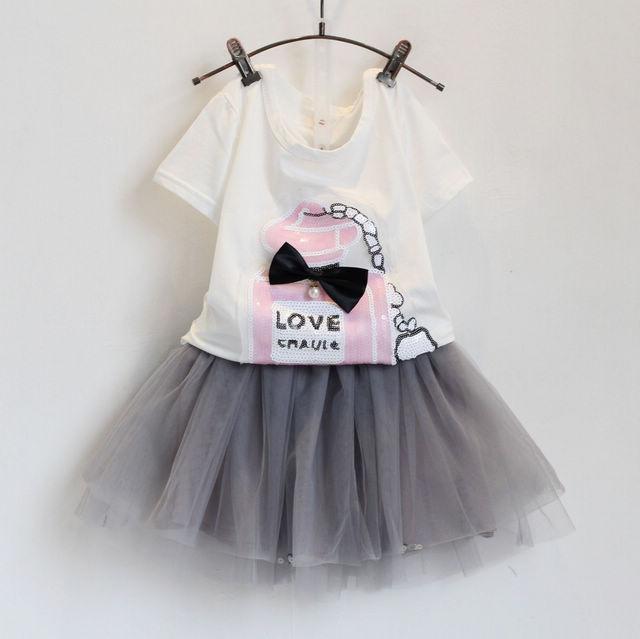 2015 fashion girls skirt summer sets, 1pcs white cartoon t-shirt + gray petti skirt lace suits, 1 colors baby girls clothes(China (Mainland))