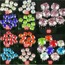 Free shipping 30pcs 5mm 10 color roundness glass crystal rhinestone Handmade sew on claw rhinestone stone Silver bottom(China (Mainland))