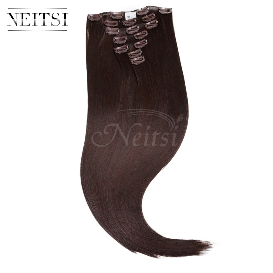 """Neitsi 22"""" 7pcs/set 140g 16clips Straight Ombre Synthetic Clip In Hair Extensions Heat Resistant Hair M2/33# Braiding Hairpieces(China (Mainland))"""