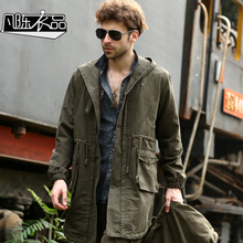 European men trench long design loose plus size outdoor windproof jacket autumn and winter army green hooded outerwear military(China (Mainland))