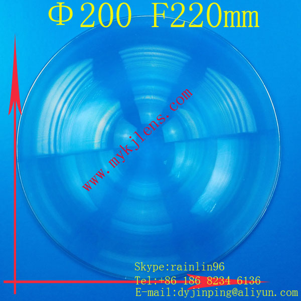 PMMA acrylic stage lights LED light  Fresnel lens Diameter 200mm focal length 220mm free shipping